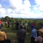 The group inspect and discuss works at Doorabee Grasslands