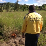 Rural Fire Service officer tests the grass for burning
